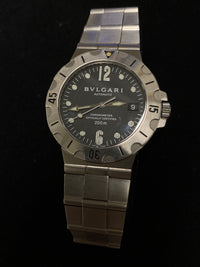Bvlgari Stainless Steel Men's Large Automatic Chronometer Diving Style Watch $8K Value w/ CoA