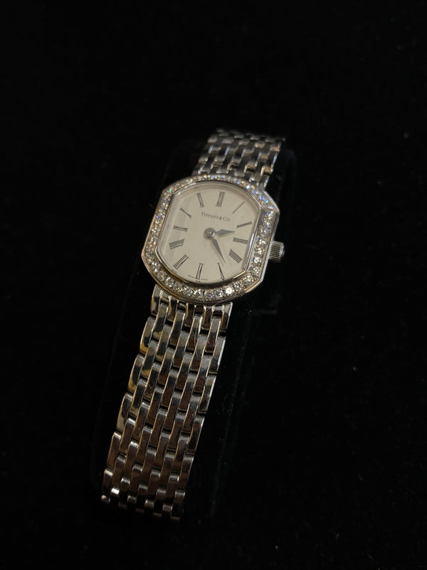 Tiffany & Co. 14K White Gold 40 Diamonds Quartz Watch $40K Value w/ CoA