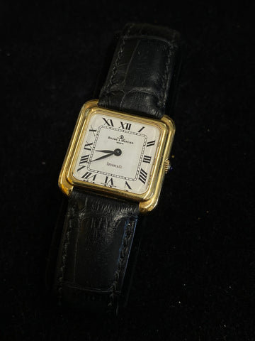 Baume & Mercier for Tiffany & Co Solid 18K Gold 1950s Mechanical Square Tank Men's Watch $20K Value w/ CoA