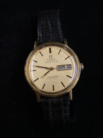 Omega for Tiffany & Co. Seamaster 14KG Automatic Day/Date 1950s Men's Watch $20K Value w/ CoA