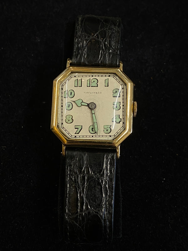 Tiffany & Co Gold Tone Octagonal 1920s Mechanical Men's Watch $20K Value w/ CoA