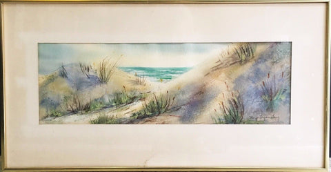 "Original Margo Terzian Lang Signed Watercolor ""Beach"" Painting C.1960's - $3K VALUE"