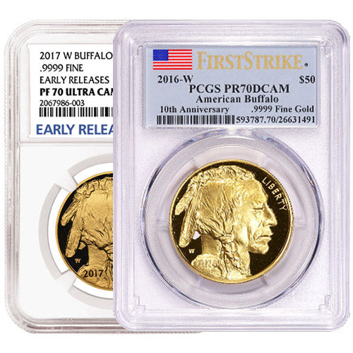 1 oz Proof American Gold Buffalo Coin PR70/PF70 (Random Year, Varied Label, PCGS or NGC)