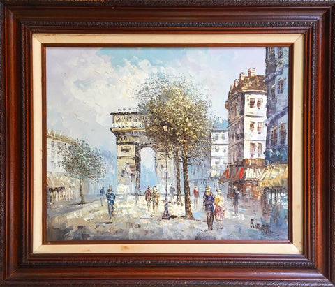 "Caroline Burnett Signed ""Triumphal Arch"" Paris Original Oil Painting- $2K VALUE"