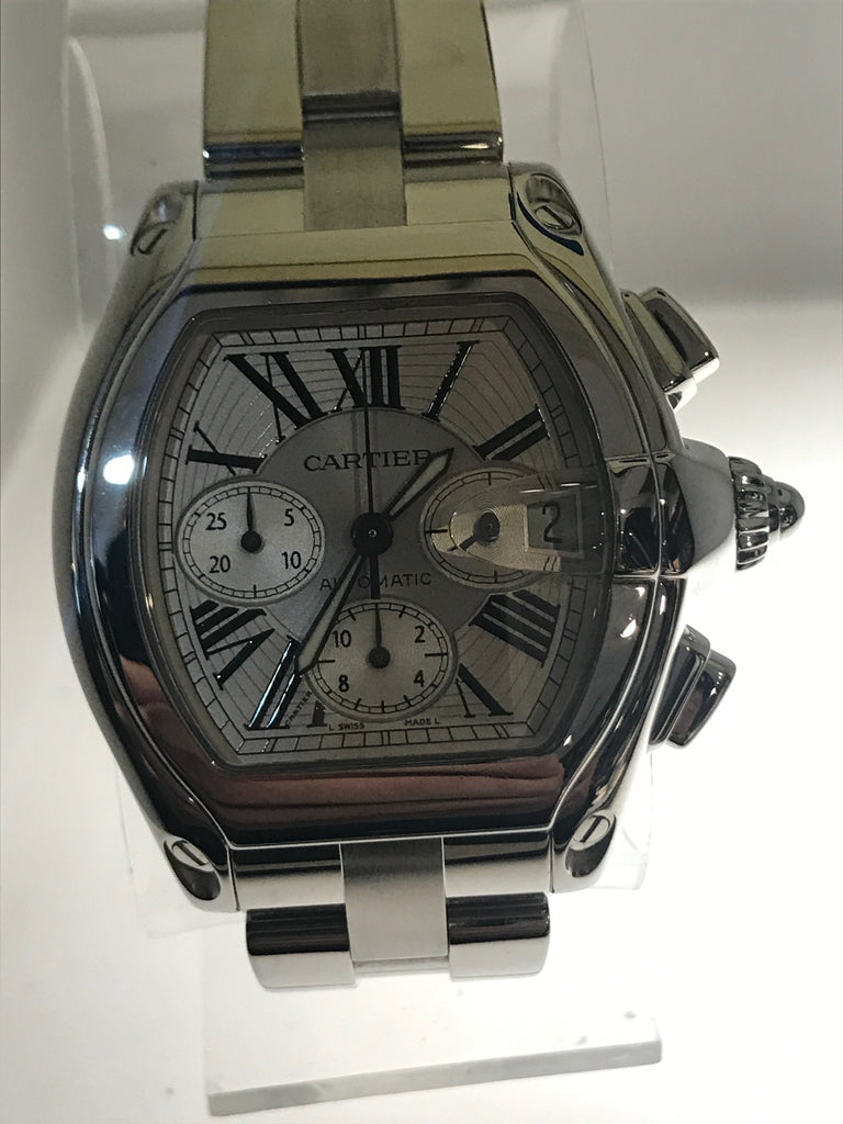 Cartier-Roadster 2618 Automatic chronograph Wristwatch SS 20K VALUE