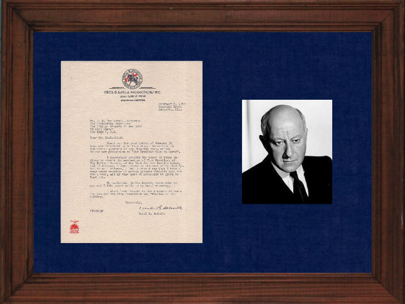 Signed Dutch Director Cecil B. DeMille Letter Ringling Bros - Apr: $20K Value*
