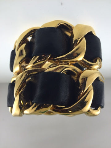 Contemporary Chanel Gold Plated Cuff Bracelet with Black Leather - $6K VALUE