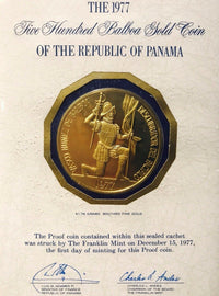 1977 Five Hundred Balboa Gold Coin of the Rep. of  Panama - $5K Value w/ CoA! ✓