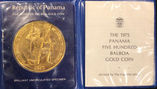 1975 Five-Hundred Balboa Gold Coin of the Rep. of Panama - $5K Value w/ CoA! ✓