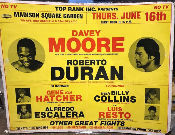 DAVEY MOORE VS ROBERTO DURAN Original Cardboard Boxing Fight Poster - $6K VALUE!