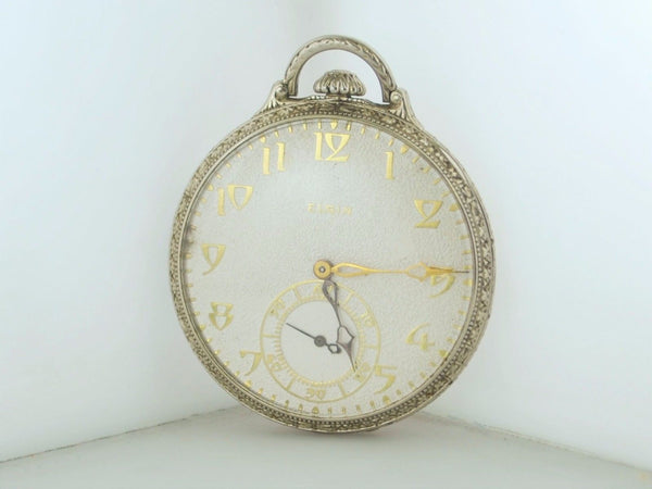 Elgin Corsican Pocket Watch Engraved 14K WG Art Deco 1926- $20K VALUE