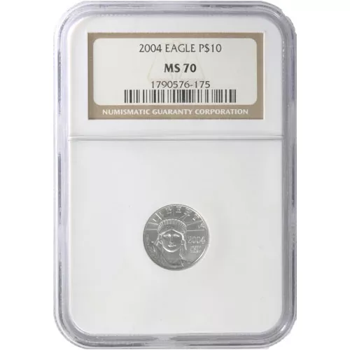 1/10 oz American Platinum Eagle Coin MS70 (Random Year, Varied Label, PCGS or NGC)
