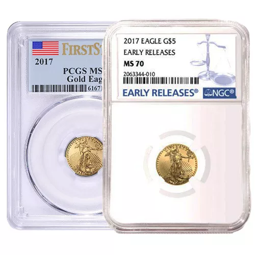 1/10 oz American Gold Eagle MS70 (Random Year, Varied Label, PCGS or NGC)