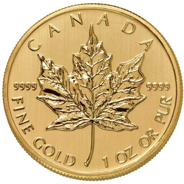 1 oz Canadian Gold Maple Leaf Coin .9999 Pure (Random Year, Varied Condition)