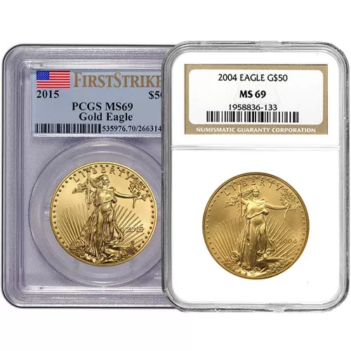 1 oz American Gold Eagle MS69 (Random Year, Varied Label, PCGS or NGC)