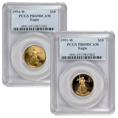 1/4 oz Proof American Gold Eagle Coin PCGS PR69 DCAM (Random Year)