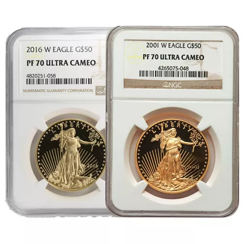 1 oz Proof American Gold Eagle Coin NGC PF70 UCAM (Random Year, Varied Label)
