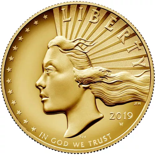 2019-W 1 oz American Liberty High Relief Gold Coin (Box + CoA)
