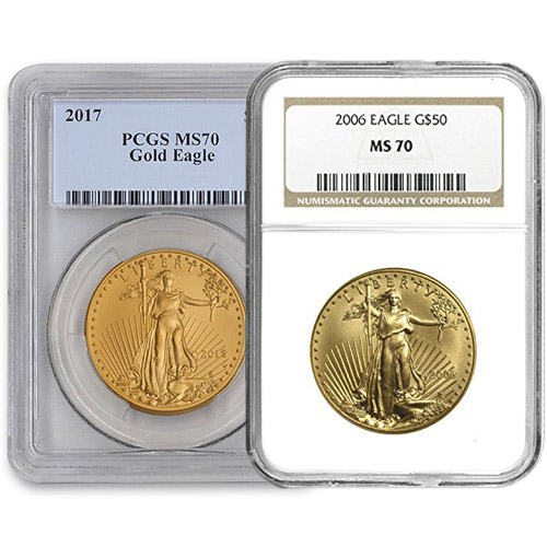 1 oz American Gold Eagle MS70 (Random Year, Varied Label, PCGS or NGC)