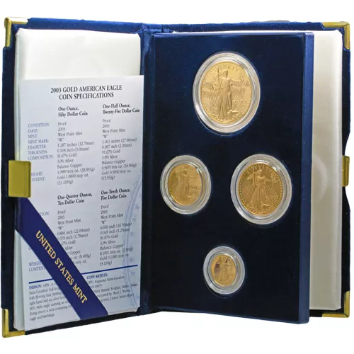4-Coin Proof American Gold Eagle Set (Random Year, Box + CoA)