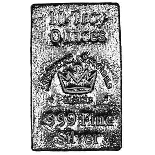10 oz Monarch Hand Poured Stacker Silver Bar (New)