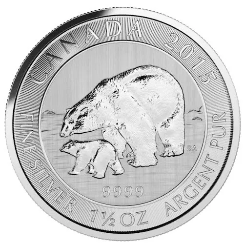 2015 1.5 oz $8 Canadian Silver Polar Bear and Cub Coin (BU)