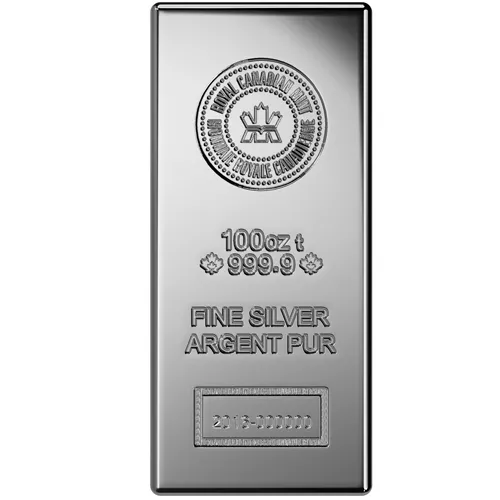 100 oz (RCM) Royal Canadian Mint Silver Bar (New)