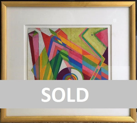 "Orginal Signed Rolph Scarlett ""Abstract"" Gouache Painting c.1940's - $15K VALUE"