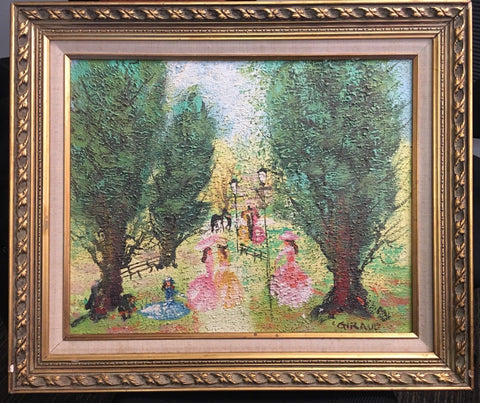 Giraud Org Oil Painting C1950 Ladies in the Park Paris Signed Framed COA $6K Apr