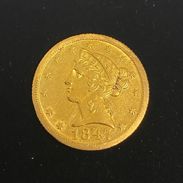 U.S. Gold Coin 1847 D Half Eagle - Very Rare! - $15K Appraisal Value  w/ COA!! @