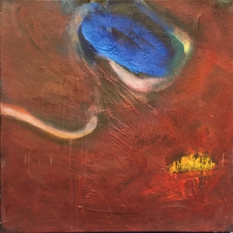 "Holly Crawford ""Blue Orb on Red"" Acrylic on Canvas circa 1991 - $1.5K VALUE"