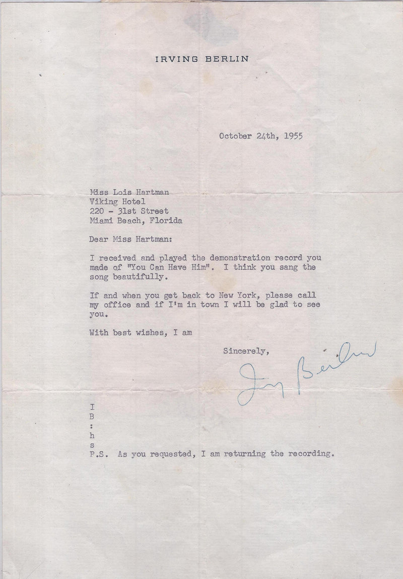 IRVING BERLIN Famous Composer & Songwriter Signed Personalized Letter - $10K VALUE*