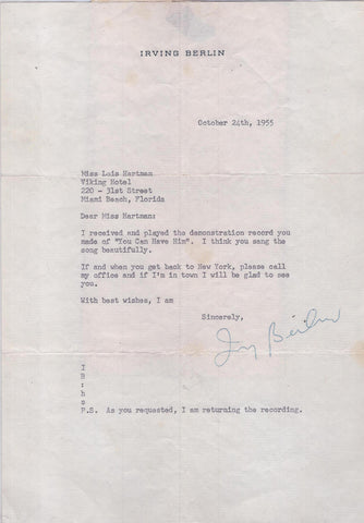 Famous Composer & Songwriter Irving Berlin Signed Personalized Letter - $10K VALUE