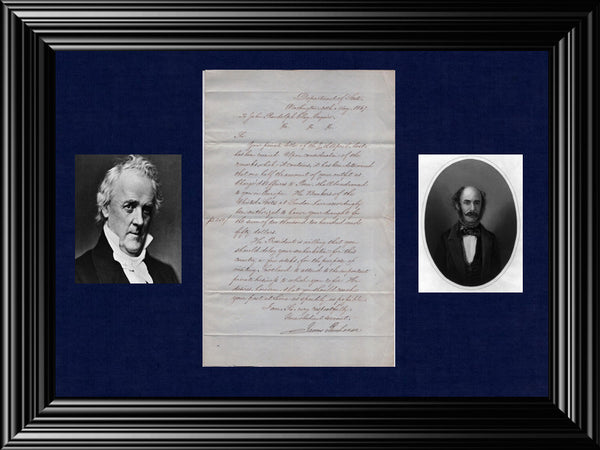 JAMES BUCHANAN Secretary of State Signed Letter to Charge d'Affaires of John Randolph Clay - $20K VALUE