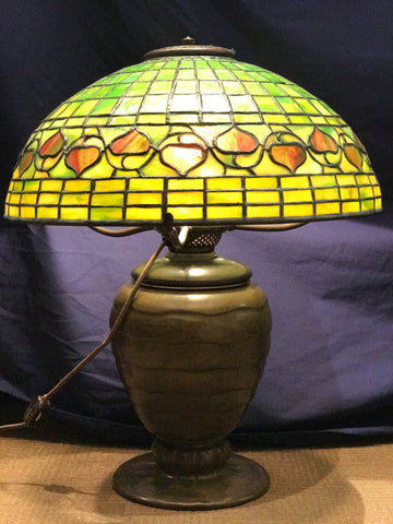Tiffany Studios Lamp L.C.T. 1900s Acorn Favrile Glass & Bronze BASE $60K VALUE