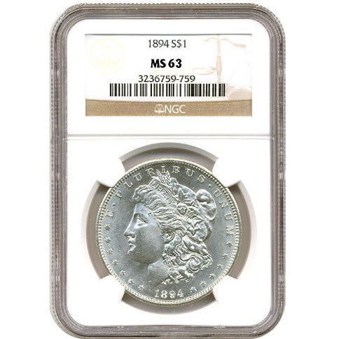 Morgan Silver Dollar Coin NGC MS63 (1878-1904)