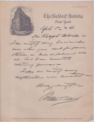 Signed Actor William S. Hart Letter to Producer Ralph Block 1942 - $3K VALUE