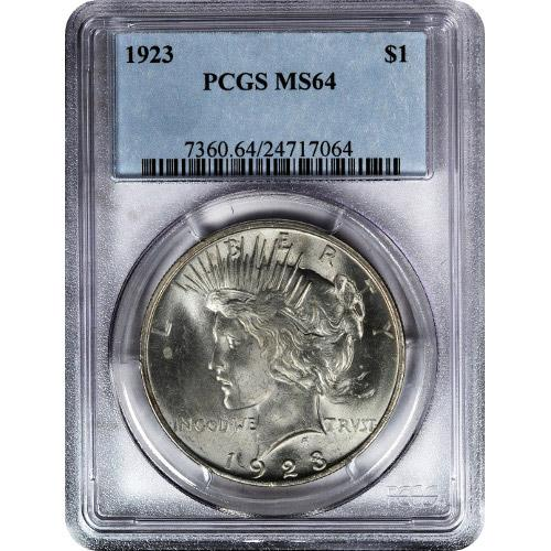 Peace Silver Dollar Coin PCGS MS64 (1922-26, 1934-35)