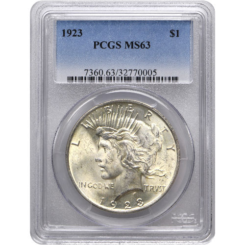 Peace Silver Dollar Coin PCGS MS63 (1922-26, 1934-35)