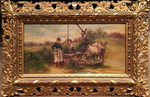 "Original Oil Painting ""Peasants at the Well"" Late 19th Century - $10K VALUE"