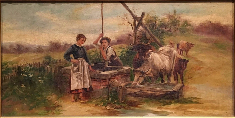 """Peasants at the Well"" Late 19th Century Original Oil Painting - $10K VALUE*"