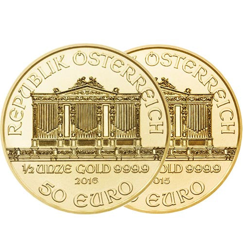 1/2 oz Austrian Gold Philharmonic Coin (Random Year, BU)