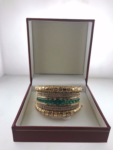 Lady's Emerald and Diamond Cuff Bracelet 18k Yellow Gold Setting - $28,5K Val!