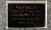 "ROBERT MITCHUM ""What's My Line?"" Autographed Slate, C. 1957 COA- $15K APR!!@"