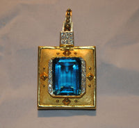 1960s Vintage Blue Topaz & Diamond Pendant/Brooch in 22K Yellow Gold - $30K VALUE