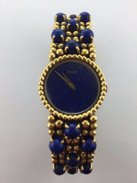 Piaget Custom Polo Lady's Wristwatch in 18K Yellow Gold & Lapis Lazuli Stones - $60K VALUE