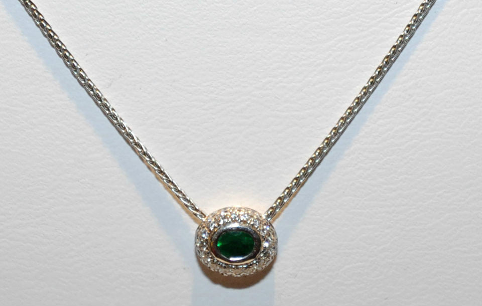 Diamond & Emerald Pendant Necklace with 18K White Gold Chain - $10K VALUE