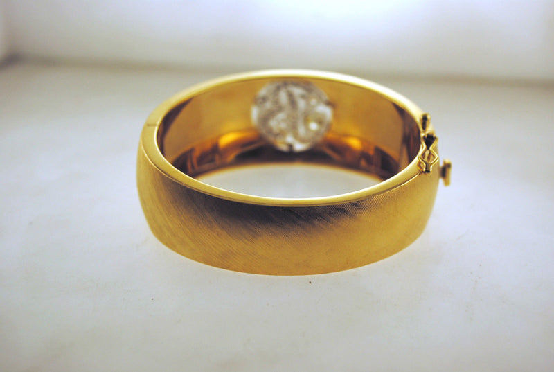 "1950s Gorgeous 2 Carat Diamond Letter ""B"" Bracelet in Sold 14K Yellow Gold with Antique Satin Finish - $30K VALUE"