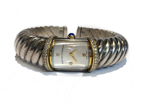 David Yurman T209 M, Sterling Silver 18K YG Diamonds, Ladies Watch, w/app, box Value 6k