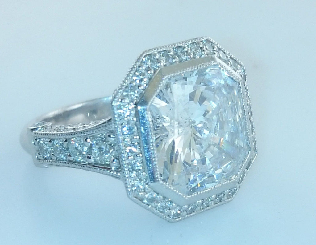 Contemporary Radiant 11+ Carat Diamond Ring Set in Platinum - $180K VALUE